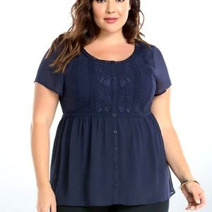 Torrid Embroidered Chiffon Blouse